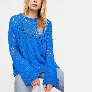 NWT Free People Traveling Lace Blue Sweater